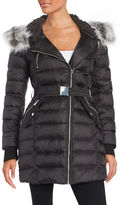 French Connection Faux Fur-Trimmed Belted Puffer Jacket