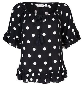 Dorothy Perkins Womens Dp Petite Black Spot Print Boho Top, Black