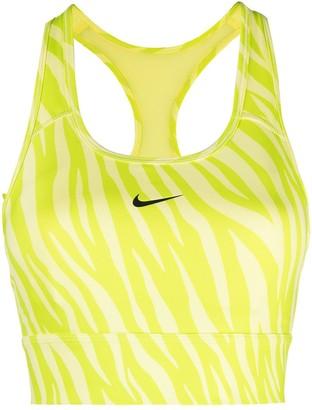 Nike Zebra-Print Logo-Print Sports Bra