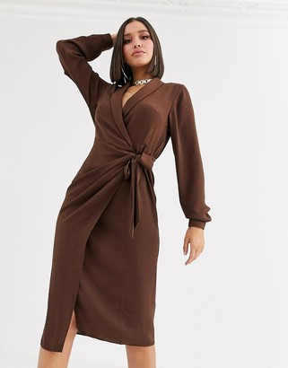 ASOS DESIGN collared wrap midi dress in brown