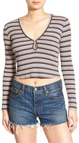 Chloe & Katie Stripe Long Sleeve Crop Tee