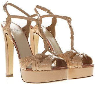 Francesco Russo Nude Metal Strappy Sandals