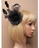 Inca Black Fascinator on Headband/ Clip-in for Weddings, Races and Occasions-4270