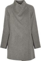 Vince Two-tone brushed and knitted wool-blend coat
