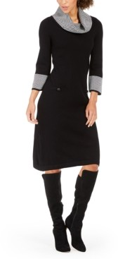 Jessica Howard Petite Cowlneck Striped Sweater Dress