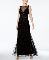 Adrianna Papell Illusion Embellished A-Line Gown