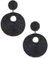 Kenneth Jay Lane Seed-Bead Disc Drop Earrings, Black