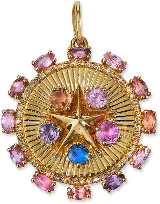 Siena Jewelry 14k Yellow Gold Multicolor Sapphire and Diamond Star Charm