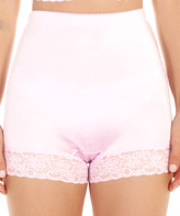 Ahh By Rhonda Shear Women's Underwear Light - Light Pink Lace-Trim Satin High-Waist Boyshort - Women & Plus