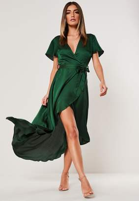 Missguided Green Satin Wrap Front Ruffle Midi Dress