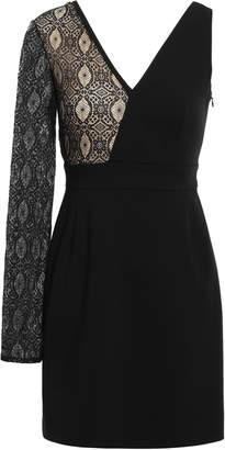 Versace Asymmetric Lace-paneled Ponte Mini Dress