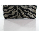 Neiman Marcus Black Gray Beaded Animal Print Full Zipper Clutch Handbag