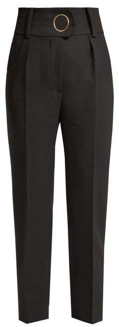 Petar Petrov Hanne High Waisted Wool Trousers - Womens - Black Multi