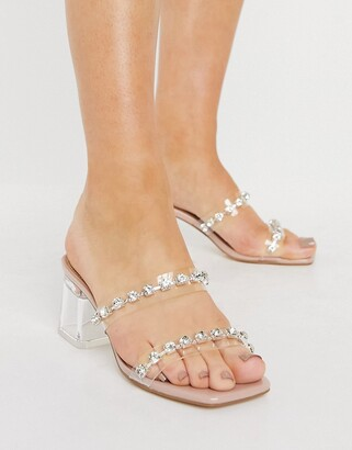 Truffle Collection clear mid heel mules with embellishment in clear