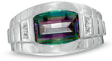 Zales Men's Barrel-Cut Mystic Fire® Topaz and Diamond Accent Ring in 10K White Gold