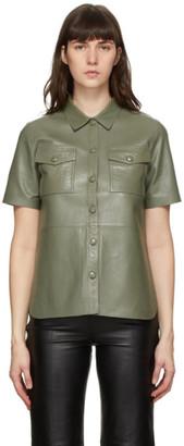 Stand Studio Khaki Leather Danna Short Sleeve Shirt