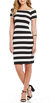 Armani Exchange Off-the-Shoulder Striped Bodycon Dress