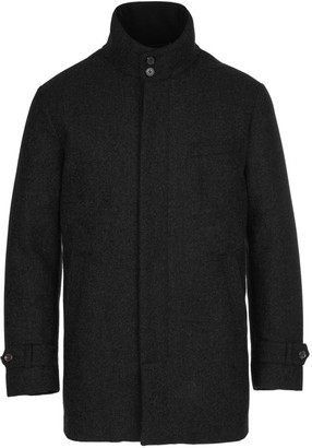 Norwegian Wool Micro Check Wool & Cashmere Down Car Coat