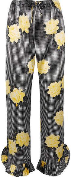Ganni Ruffle-trimmed Printed Silk-blend Straight-leg Pants - Black