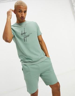 ASOS Dark Future lounge rib t-shirt and short pyjama set in sage