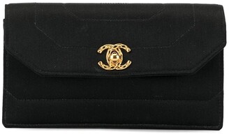 Chanel Pre Owned 1992 geometric quilt CC turn-lock clutch