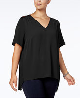 MICHAEL Michael Kors Size Pleated Lace-Back Top