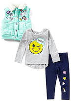 Flapdoodles Little Girls 2T-6X Faux-Fur-Collared Puffer Vest, Graphic Tee & Leggings Set