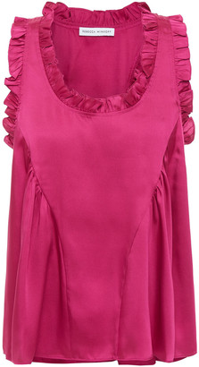 Rebecca Minkoff Ruffle-trimmed Gathered Twill Top