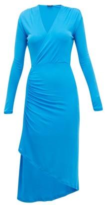 Atlein - Gathered Stretch-jersey Wrap Dress - Blue