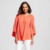Notations Women's Off the Shoulder Knit Top with Ruched Sleeve