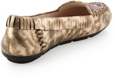 House Of Harlow Marion Beaded Flat Moccasin, Rose Gold