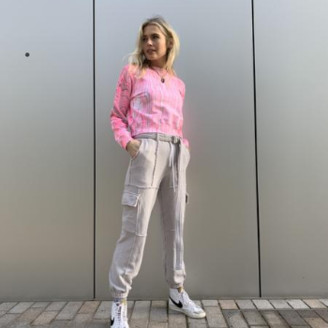 Cotton Citizen The Milan Crop Crew In Hot Pink Marble - XS