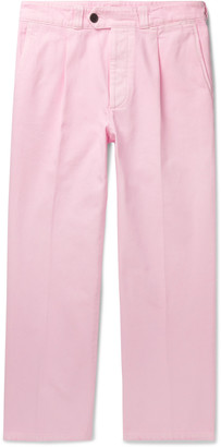 Prada Cropped Pleated Cotton-Twill Trousers