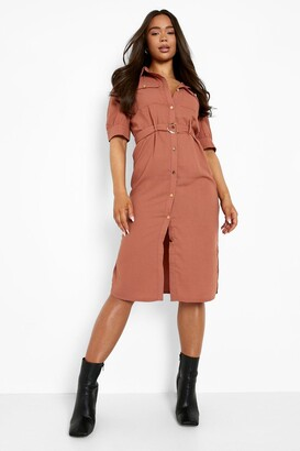boohoo Puff Sleeve Utility Midi Shirt Dress