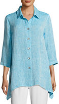 Caroline Rose Chambray Linen Side-Fall Shirt