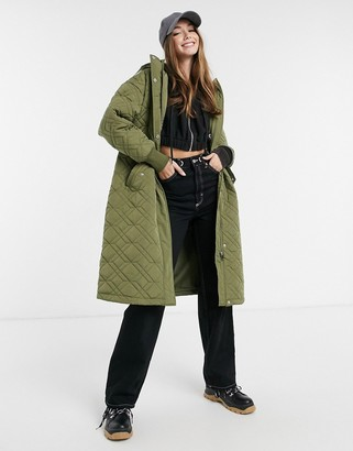 Pimkie quilted longline hooded jacket in khaki