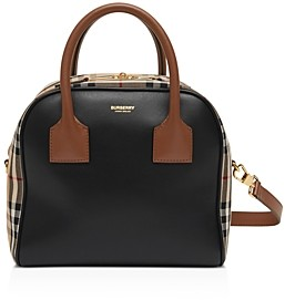 Burberry Small Leather & Vintage Check Cube Bag