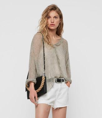 AllSaints Harri Leather Square Crossbody Bag