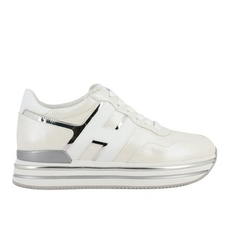 Hogan 468 Midi Platform Sneakers In Leather With Big H And Glitter Piping