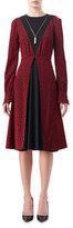 Altuzarra Taddea Flocked Long-Sleeve Midi Dress, Red