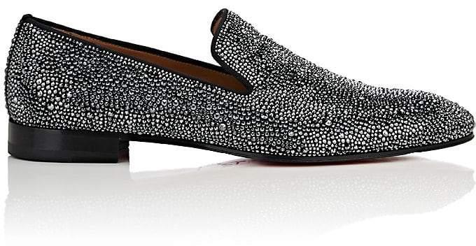 Christian Louboutin Men's Dandelion StrassTM Flat Suede Venetian Loafers