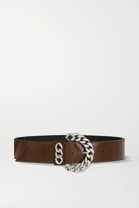 Kate Cate Chain-embellished Leather Waist Belt - Brown