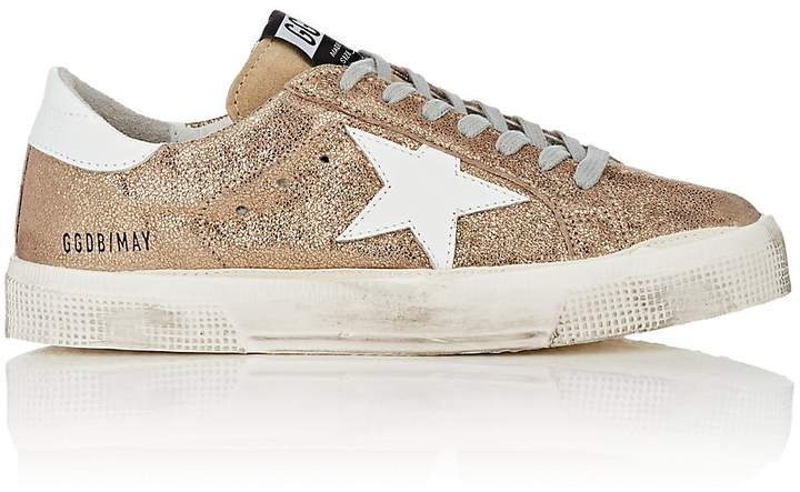 Golden Goose Women's May Cracked Leather Sneakers