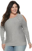 JLO by Jennifer Lopez Plus Size Studded Cold Shoulder Pullover