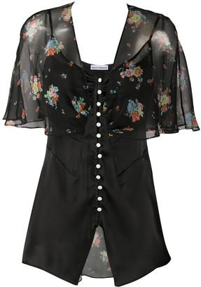 Paco Rabanne Floral Sheer Silk Blouse