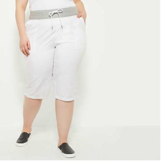 Joe Fresh Women+ Drawcord Hem Pants, White (Size 3X)