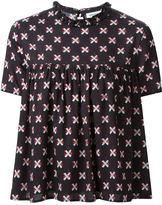 Au Jour Le Jour bandaid print ruffle neck pleated blouse