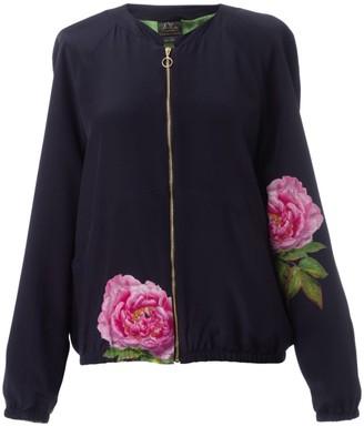 Castlebird Rose La Pivoine Silk Bomber Jacket in Midnight Blue