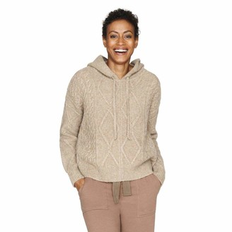 b new york Women's Recycled Long Sleeve Cropped Cable Knit Hoodie Sweater