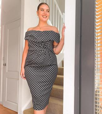 ASOS DESIGN Curve drape fallen shoulder midi pencil dress in mono grid print